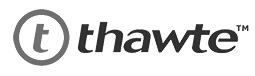 Logo de la compañía Thawte que emite certificados de seguridad