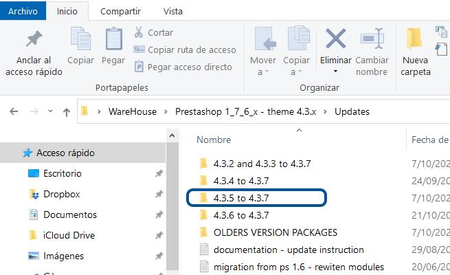 Imagen de los Archivos de diversas Opciones para Actualizar Tema Warehouse para versión 1.7.6 de PrestaShop - Webkreativo
