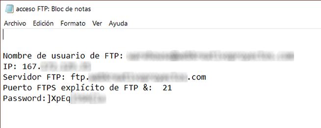 Imagen de Credenciales de acceso al cliente FTP