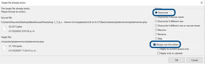 Imagen de Sobreescribir directorios del tema Warehouse 4.3 de nuestro PC en FileZilla