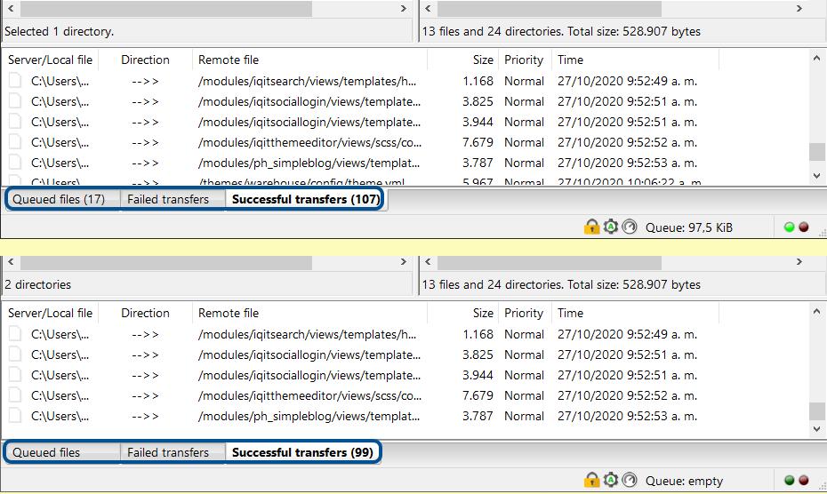 Imagen de Transferencia de Directorios del Tema Warehouse 4.3 de nuestro PC en FileZilla