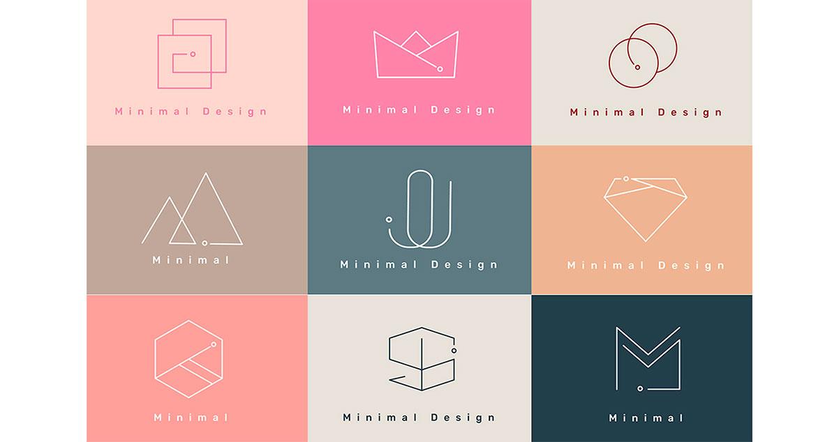 Ilustración que muestra diferentes tipos de conceptos graficos para el diseño de logos - WebKreativo